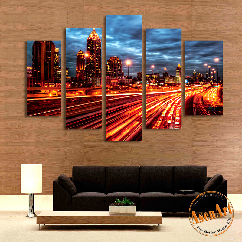 5 Panel Light Road Night City Landscape Painting For Living Room Modern Home Decor Wall Art