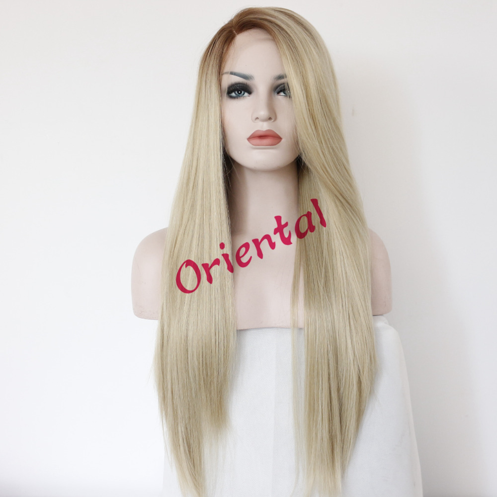 Free Shipping new fashion high quality heat resistant hair two tone glueless brown blond ombre synthetic lace front wig<br><br>Aliexpress