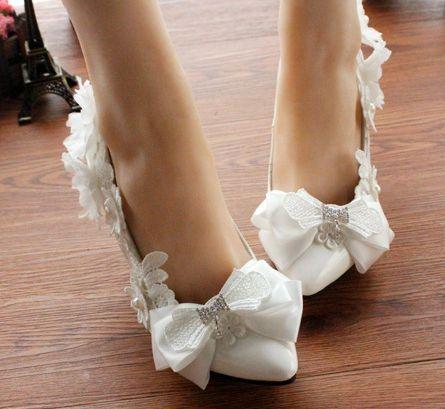 9cm thin heel pumps wedding shoes white delicated handmade bow bowtie decoration flower rhinestones bridal pump shoe(China (Mainland))