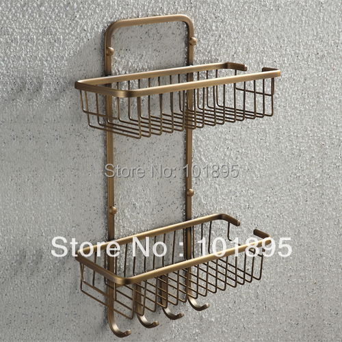 Фотография Retail - Luxury Brass Bathroom Shelves, Bronze Color  Double Layer Holder with Wall Mounted , Free Shipping L16682