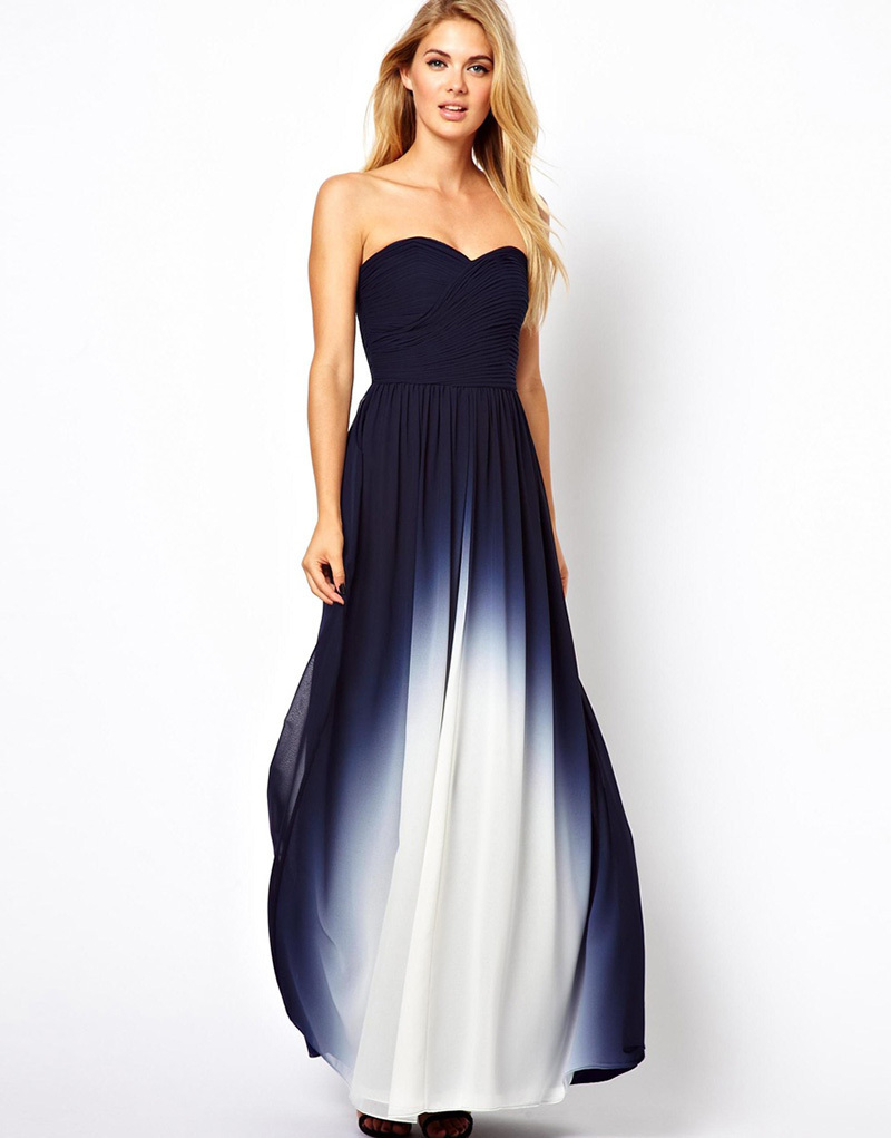 Buy new arrival gradient chiffon prom for Navy blue and white wedding dress