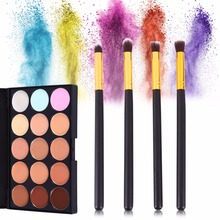 Buy Professional Makeup Brushes Cosmetic Tools 15 Colors Concealer Palette Kit Powder Puff Brush Set Eyeshadow Foundation Blending for $6.89 in AliExpress store