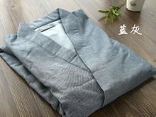 1set/lot free shipping Japanese style man cotton linen solid pajamas set casual belt pajamas Cotton Kimono m L size             (China (Mainland))