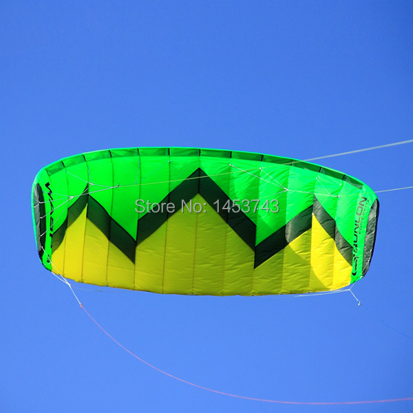 New Design Green W3 Large Play 3 Sqm Power Four Line / Parachute Kite / Professional Outdoor / Trainer Traction / Kite Boarding(China (Mainland))