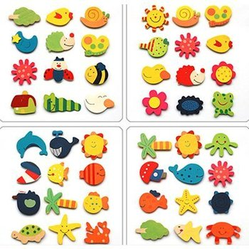 Free shipping via DHL, 12pcs/bag, cartoon fradge magnet / wooden toys for baby / home decoration and novelty items wholesale