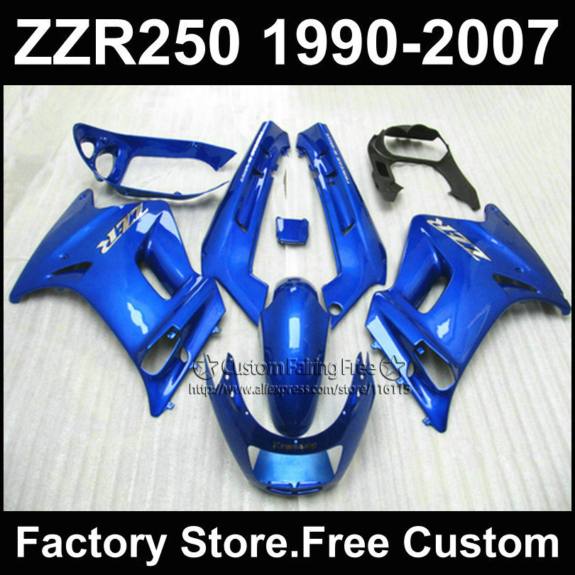 Custom free ABS motorcycles fairings kit for Kawasaki ZZR-250 ZZR250 1990 1992 2007 ZZR 250 90-07 blue body repair fairing parts(China (Mainland))