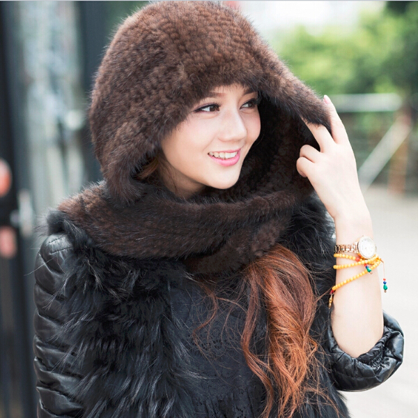 2015 New fashion winter hats long design handmade knitted real mink fur hat scarf for women toucas de inverno BM-160(China (Mainland))