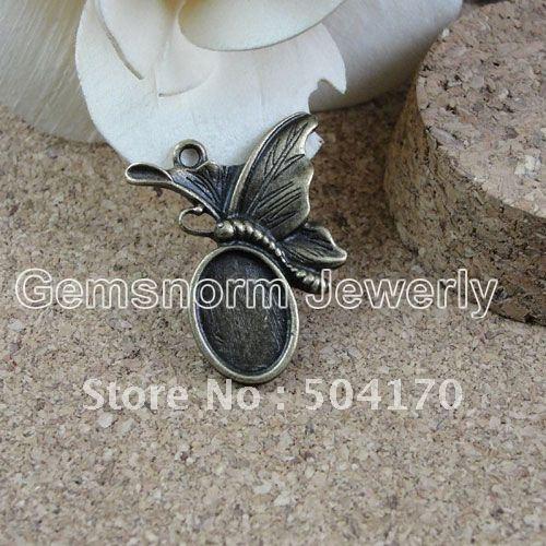 Rare Butterfly Jewelry Findings 29*20MM Retro Zinc Alloy Base Settings For 14*10MM Oval Pendant 200pcs DIY ZAKKA Findings JF035<br><br>Aliexpress