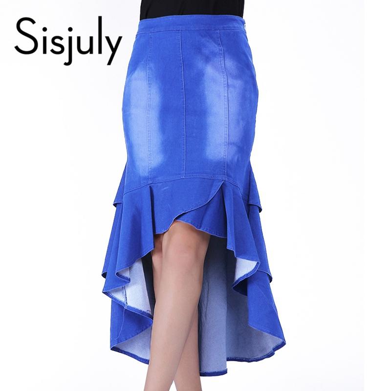 sisjuly blue mermaid skirt denim trumpet skirt