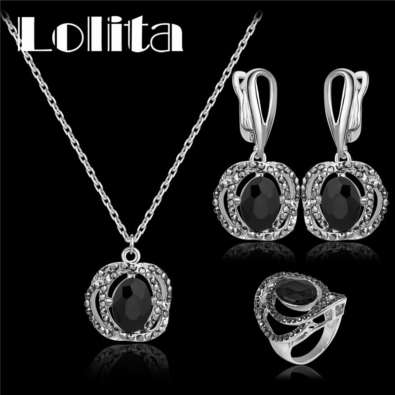 White Gold Color Austrian Crystal Black Rose Necklace Earrings Jewelry Sets Wedding Jewelry For Women C060(China (Mainland))