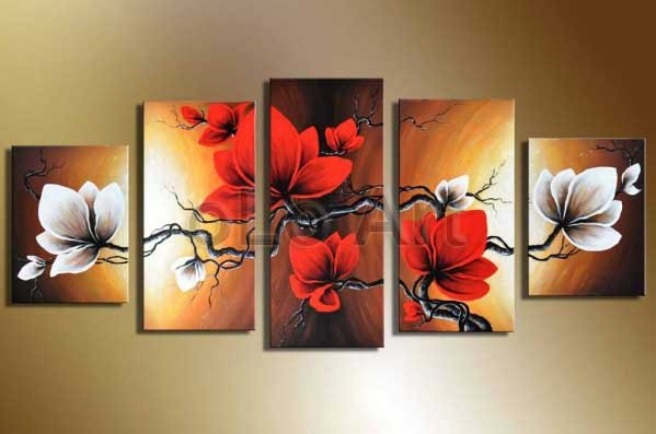 Hand painted red flowers oil painting canvas landscape beautiful 5 panel wall art home decor - Home decor promo code paint ...