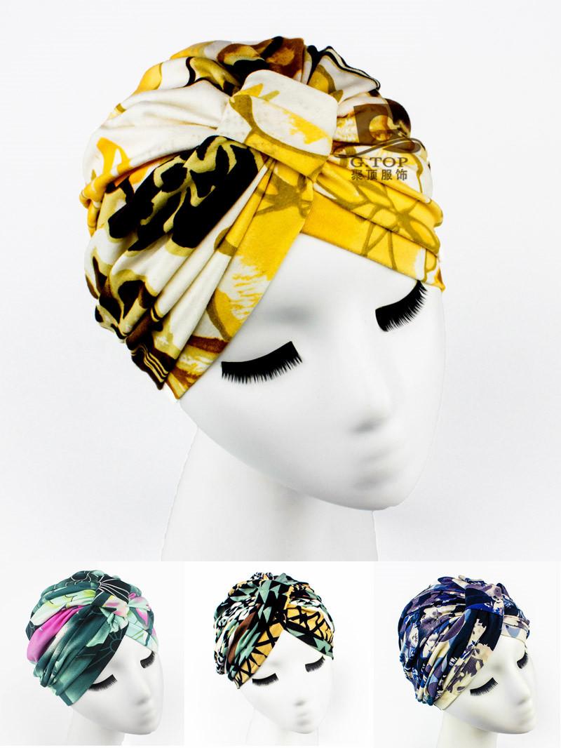 NEW Luxury Divas Green Floral Leaf Print Turban lady fashion head wrap headband TH-36(China (Mainland))