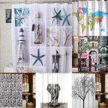 High Quality Polyester Sea Waterproof Shower Curtain With Hooks Bathroom Shower Curtain 180cm*180cm Wholesale(China (Mainland))
