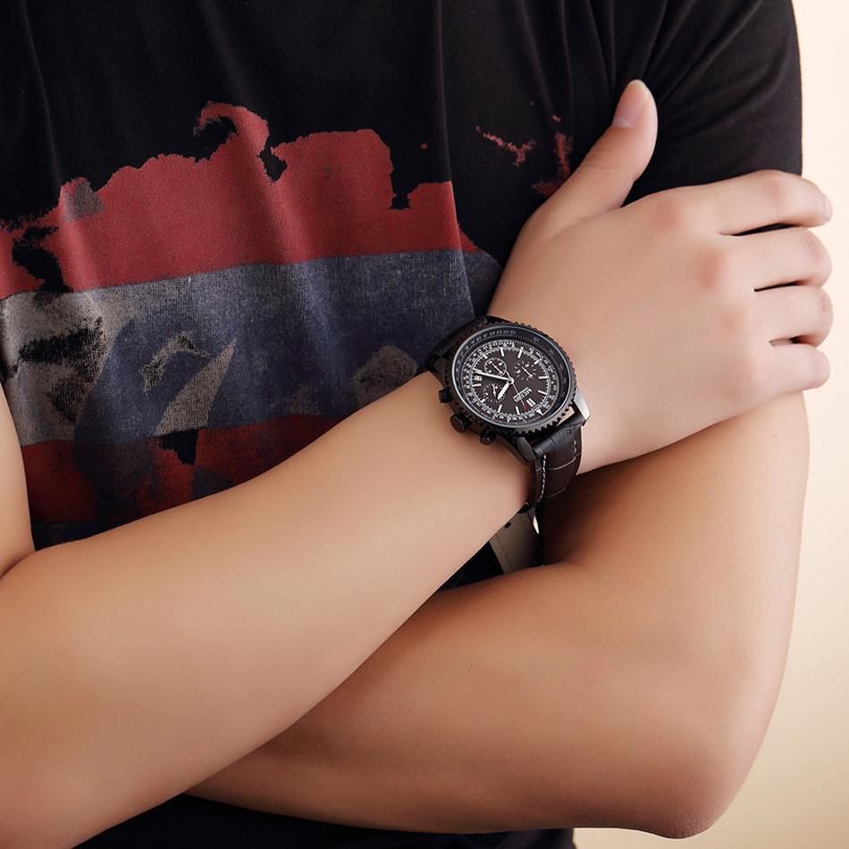 MEGIR Хронограф 24 Часы Люксовый Бренд Часы Полная Сталь Аналоговый Дисплей Кварцевые Мужчины Бизнес Водонепроницаемые Часы Повседневная relogio