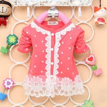 2 4Y Baby Kid Girl Blouse Polka Dots Shirt Long Sleeve Lace Pearl Shirt Cardigan