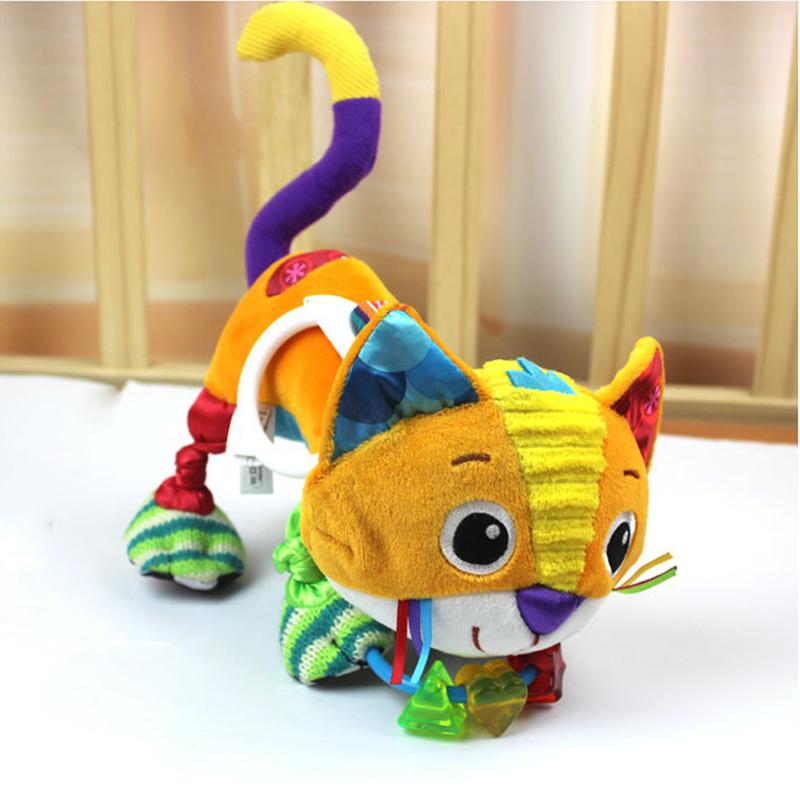Crazy cat Baby Sensory Development Toys Animal Infant Plush Toys Activity Toys Pram Car Stroller hanging Toys Baby Rattles(China (Mainland))