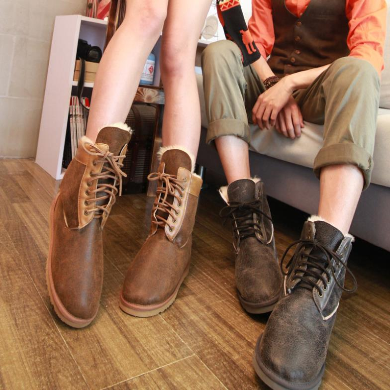 2014 New fashion ankle snow boots men & women real sheepskin leather nature fur lovers winter shoes wool lined - Belles High Quality! store