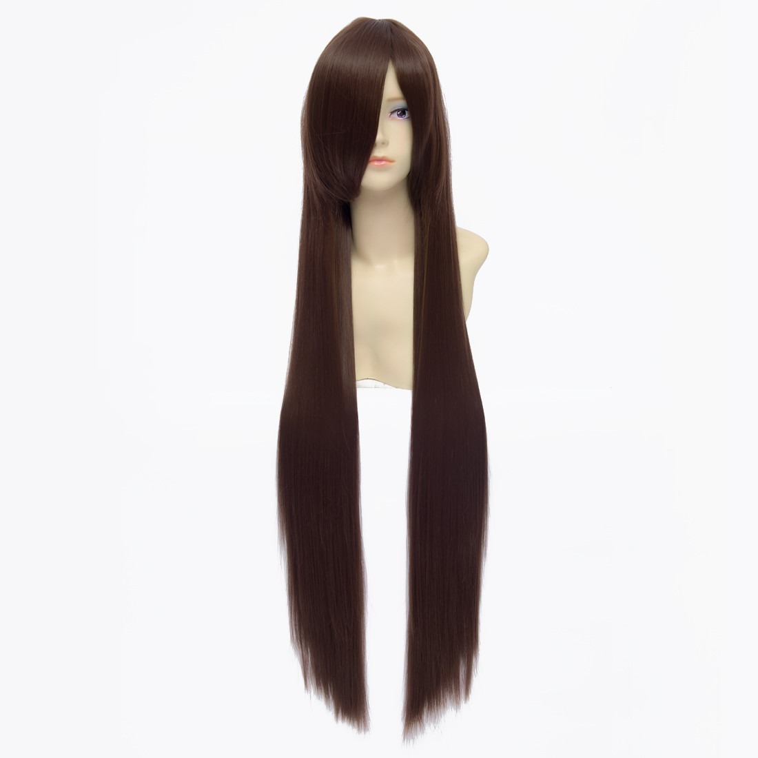 100cm Tea Brown Straight Long Synthetic Full Cosplay Costume Anime Wig