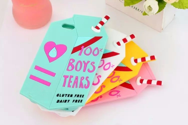 3D Fashion Cute Boys Tears Milk Box Case for iPhone 6 6S Plus 5 5s Se 4.7 5.5 soft silicone cover skin Back coque women girl