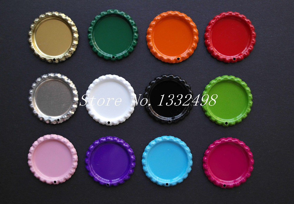 Wholesale colored flattened bottle caps with 1 8mm hole for Wholesale bottle caps for crafts