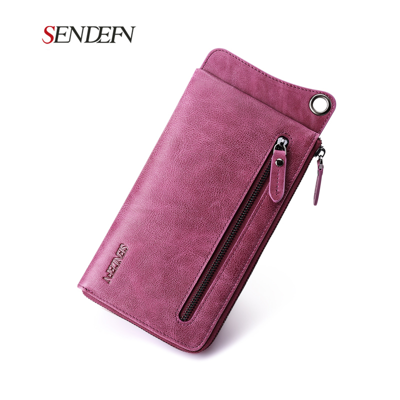 SENDEFN Genuine Leather Women Wallet First Layer of Cowhide Ultra-thin Lady Clutch Zipper Phone Pocket Purse Female Wallet(China (Mainland))