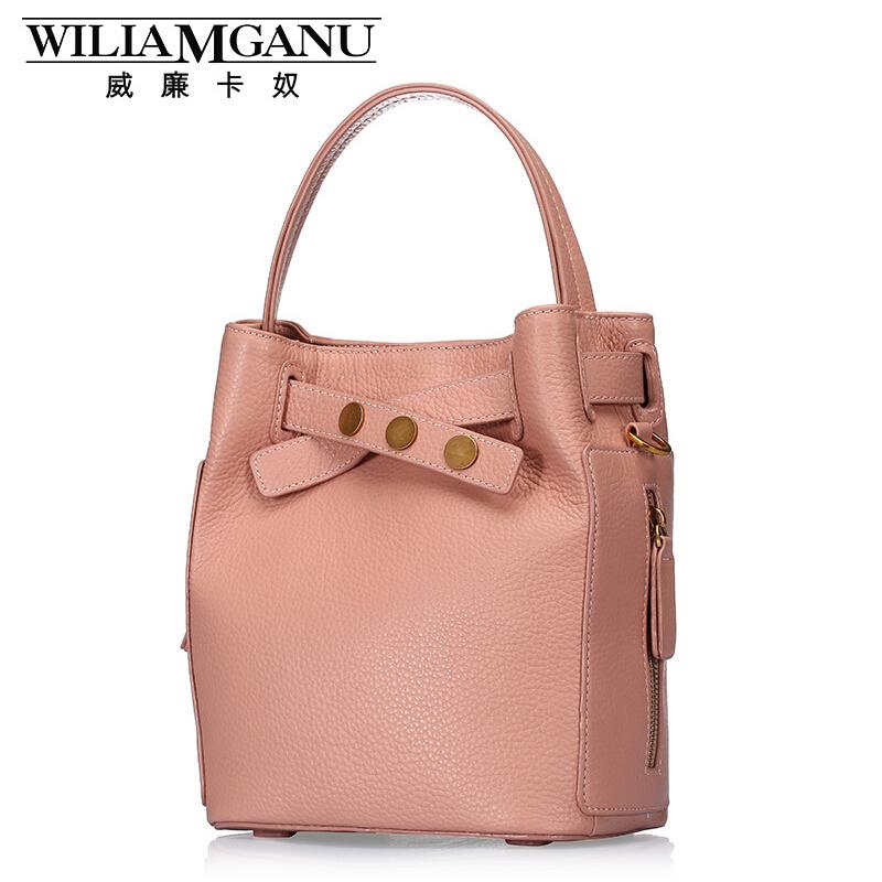 WILIAMGANU Fashion Brand Handbags High Quality Genuine Leather Bag Cowhide Women Totes Bucket Shoulder Bag Women Messenger Bags<br>