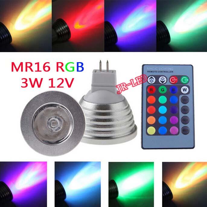 1Pcs MR16 LED RGB Bulb lamp AC/DC 12V 3W LED RGB Spot light dimmable magic Holiday RGB lighting+IR Remote Control 16 colors<br><br>Aliexpress