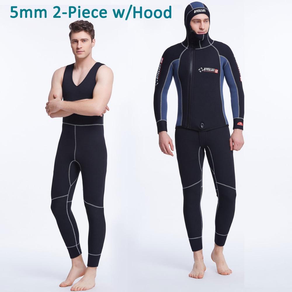 5mm Neoprene 2-Piece Set Men's Wetsuit Jacket w/ Hood and Jone Suit, Black Blue Patchwork Front Zip Spearfishing Diving Suit(China (Mainland))