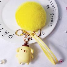 Bonecas dos desenhos animados Porte Clef Mulheres Macio Dos Desenhos Animados Olá Kitty Chaveiro Pompom Bola Saco De Pele De Coelho Chaveiro Llavero Chaveiro Pompom(China)