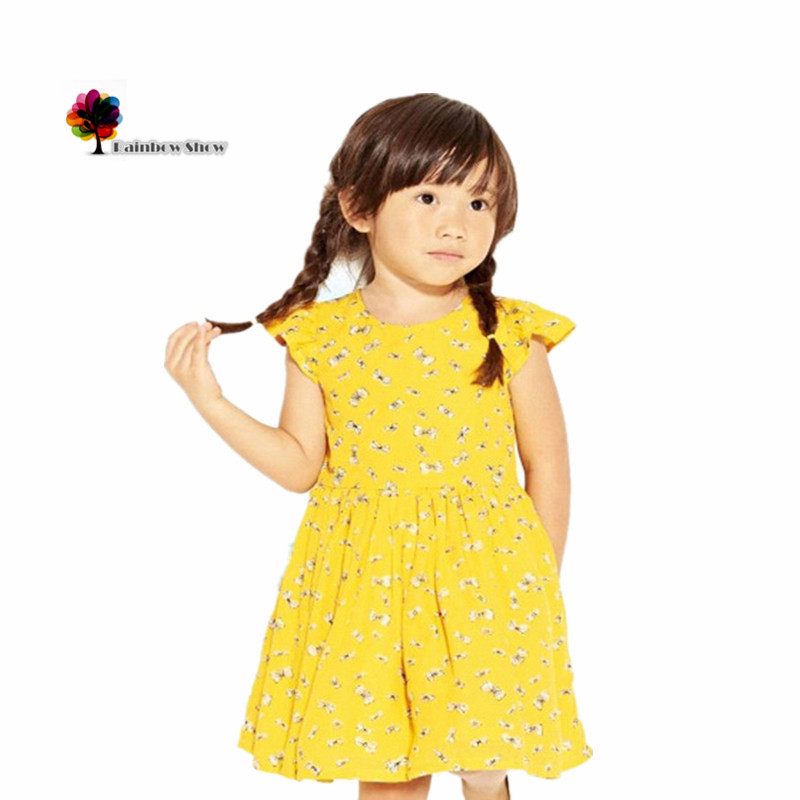 Little Maven Brand New Childrens Summer Girls Short Sleeve O-neck  Bows-printed Yellow Lovely Cotton Fabric Cute  Kids Dresses<br><br>Aliexpress