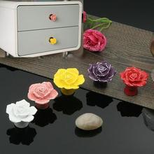 1pcs Vintage Rose Flower Ceramic Knob Cabinet Drawer Kitchen Cupboard Pull Handle   LT563(China (Mainland))