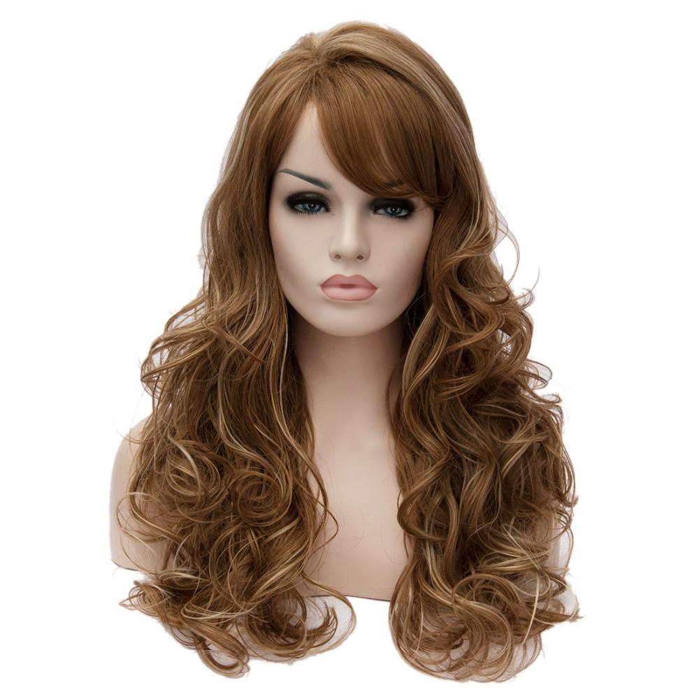 Elegant Womens Brown Highlights Blonde Hair High Temperature Wavy Long Wigs<br><br>Aliexpress