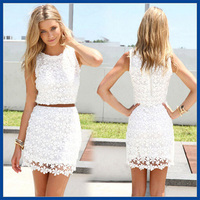 2015 Summer Style Women Sleeveless O-Neck Slim Package Hip Lace Vest Dress Without Belt Crochet  Vestidos S-XXL Free Shipping