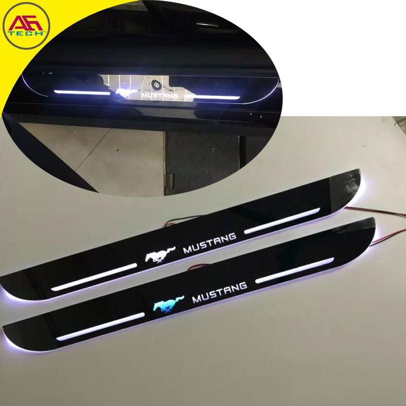 White red blue light moving threshold door sill protective pedal door scuff plates welcome pedal strip for Ford Mustang 2014+(China (Mainland))