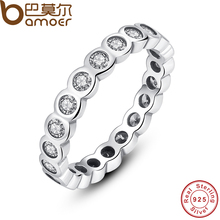 BAMOER 925 Sterling Silver Alluring Brilliant Stackable Finger Ring with Clear CZ Original Fine Jewelry PA7131(China (Mainland))