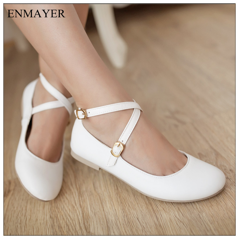 ENMAYER New Fashion Genuine Leather Women Flat Shoes And ...