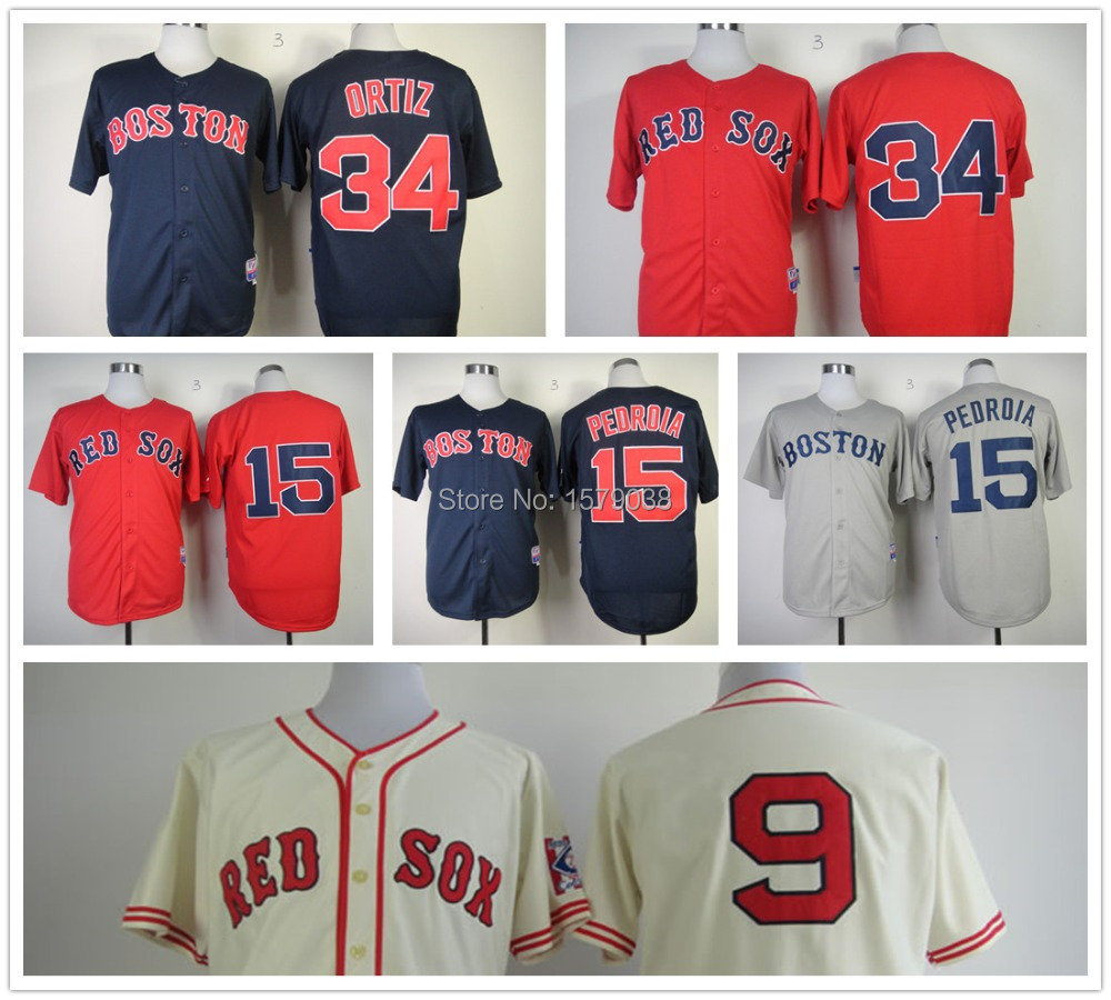 New Boston Red Sox jersey #34 David Ortiz Jersey baseball #15 Dustin Pedroia cool base #9 Ted Williams jersey Size M-XXXL(China (Mainland))