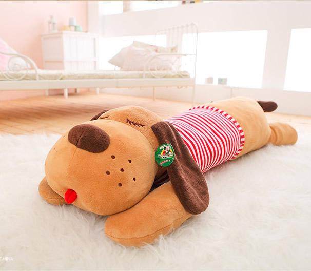 Free shipping 1pcs 50cm=19.7'' Stripe Dog Stuffed animal Plush Pillow,Good Quality Large Dog Toys Creative Birthday Gift(China (Mainland))