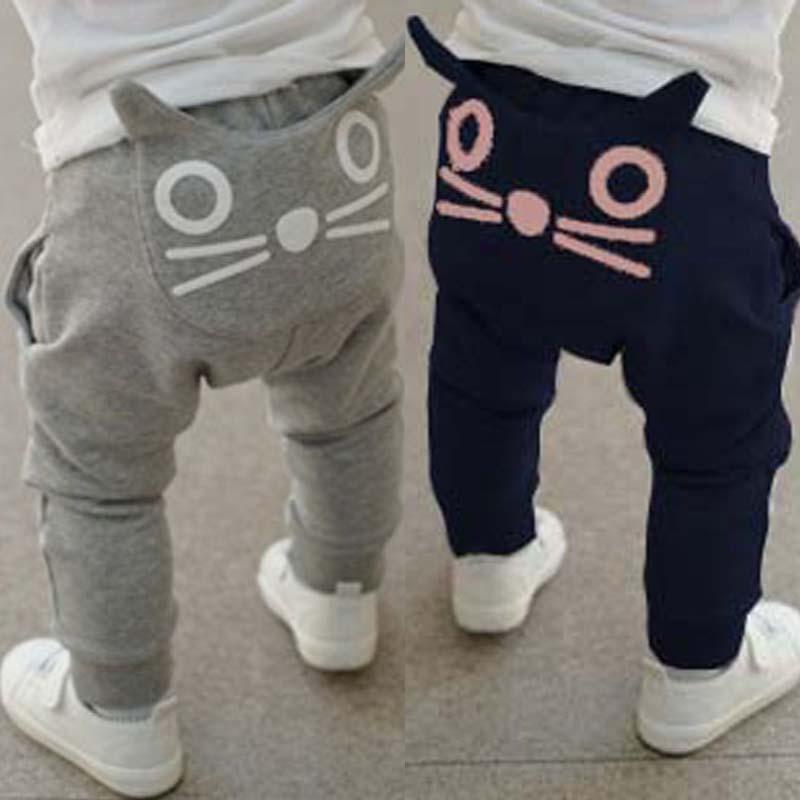 Retail 2016 new spring kids clothing boys girls harem pants 100 cotton owl trousers baby pants
