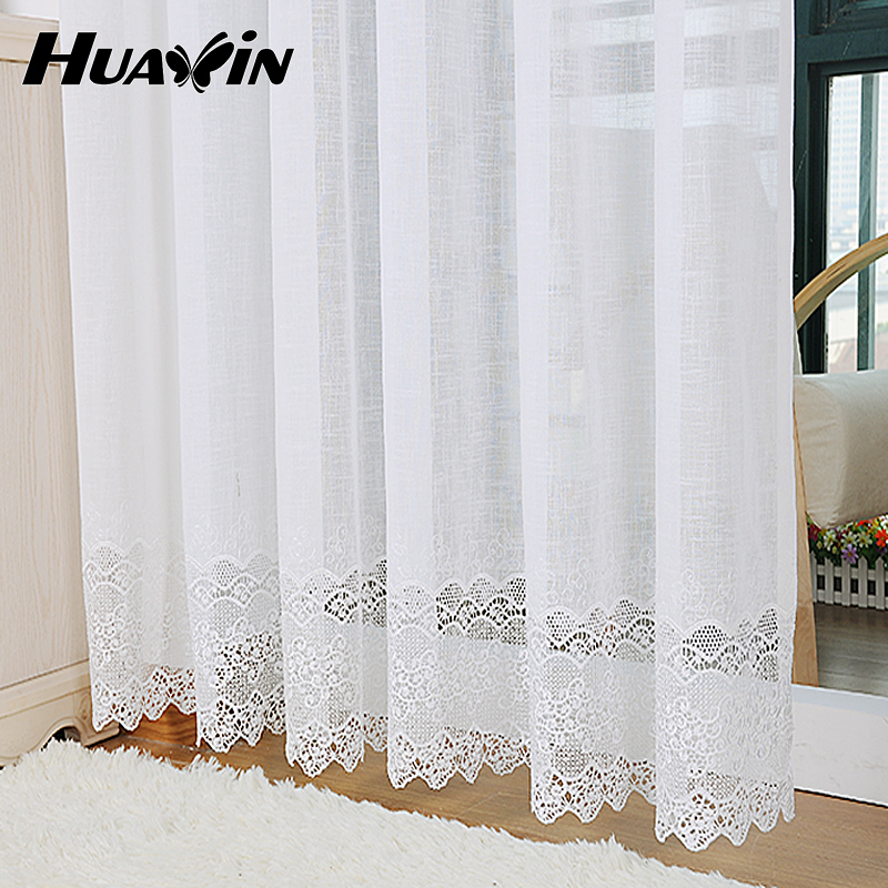 White Gauze Embroidery Balcony Soluble Linen Curtains Guaze European Minimalist Style Curtains Voile for Living Room #15(China (Mainland))