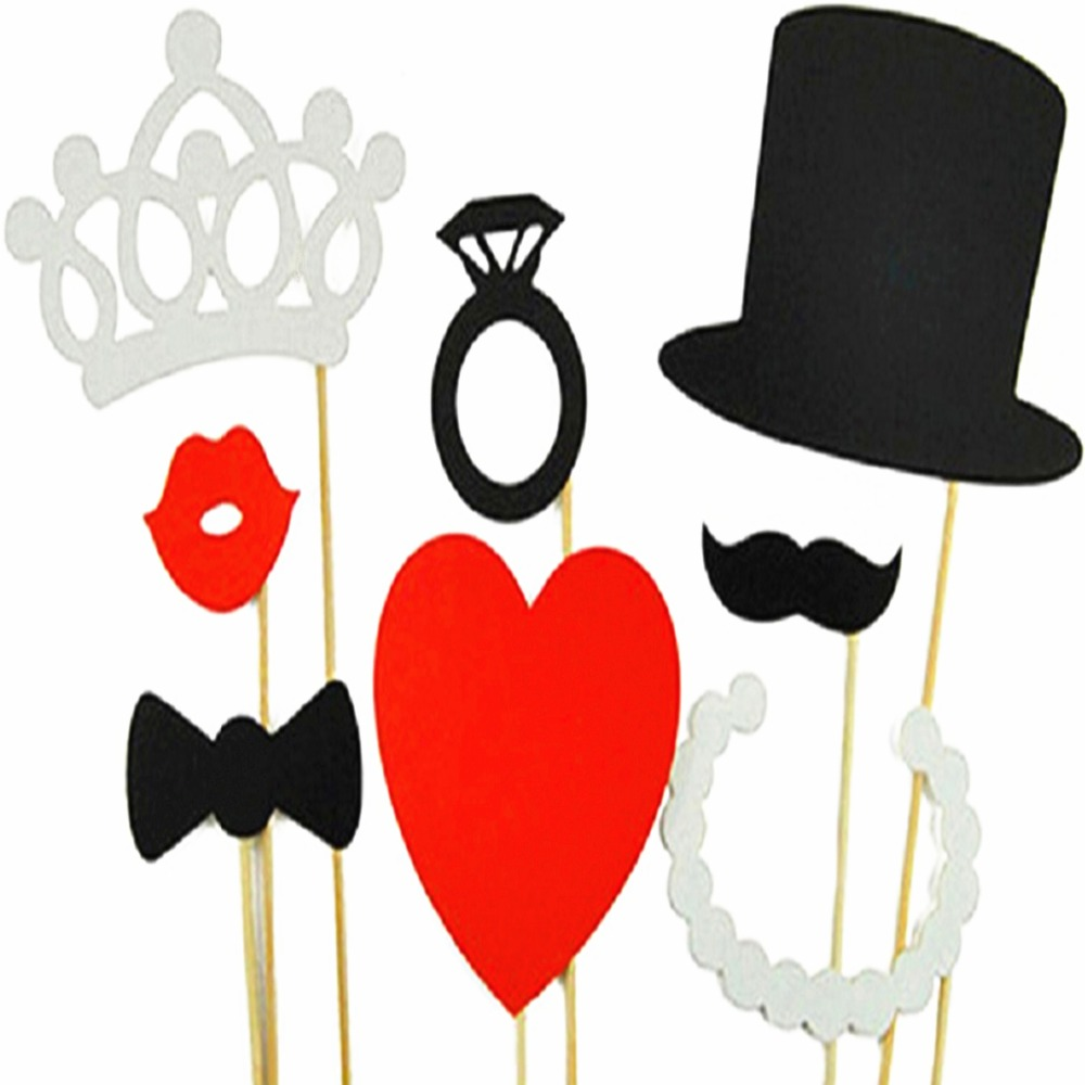Wedding party decoration 8Pcs DIY Photo Booth Props Hat Crown Mustache Lip Ring Heart Crown Party Wedding Decoration photo booth(China (Mainland))