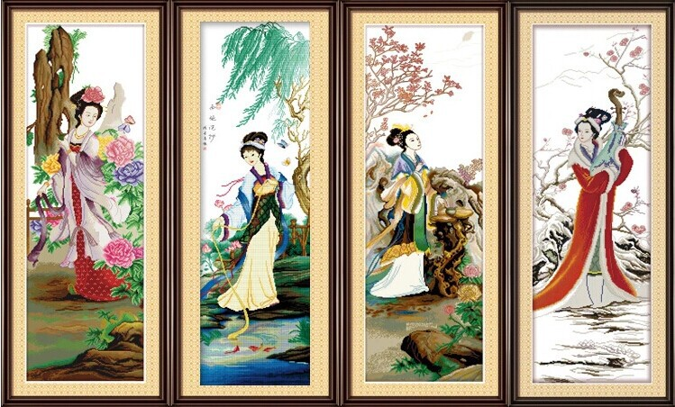 4 Chinese beauty cross stitch kit cotton thread embroidery people paiting picture DIY handmade needlework set wall home decor(China (Mainland))