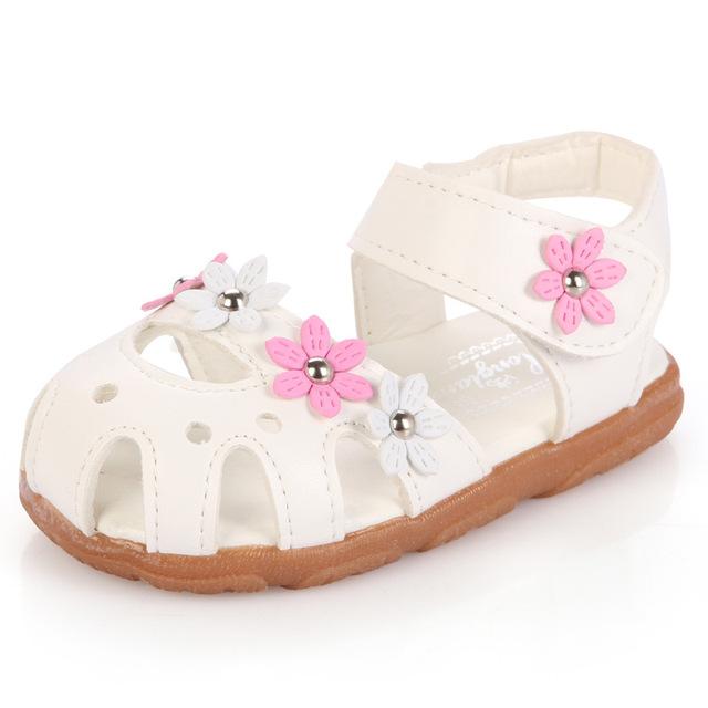Мода цветок мягкое дно ребенок детские сандалии кожаные ботинки квартира девушки ...