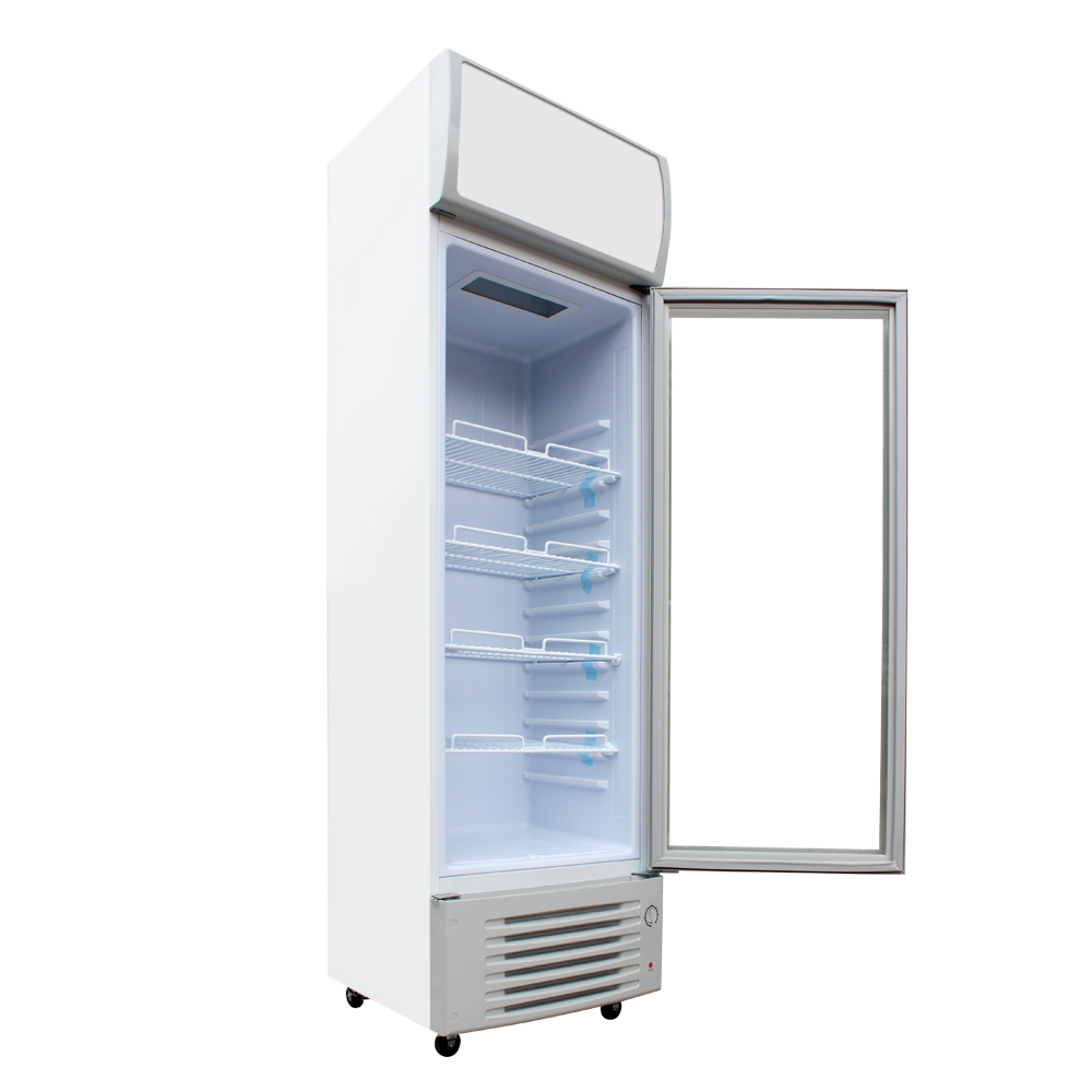 Glass Display Showcase Pull Door Beer Beverages Cooler Commercial Refrigerator Merchandise Upright Fridge Machine 9.1 cf. White(China (Mainland))
