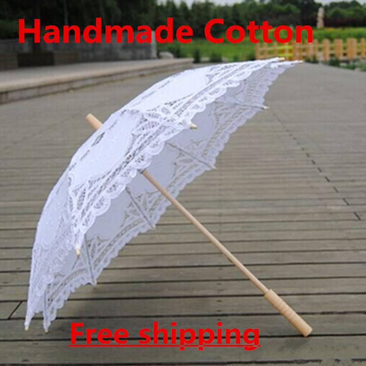 Grátis frete guarda-chuva do laço artesanal de algodão branco guarda sol guarda-chuva guarda-chuva de noiva decorações do casamento(China (Mainland))