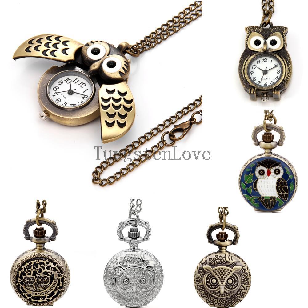 31 inch Vintage Cute Open Wing Necklace Pendant Owl Pocket Watch for Men Women Bronze Bird Quartz Steampunk Fashion watches(China (Mainland))