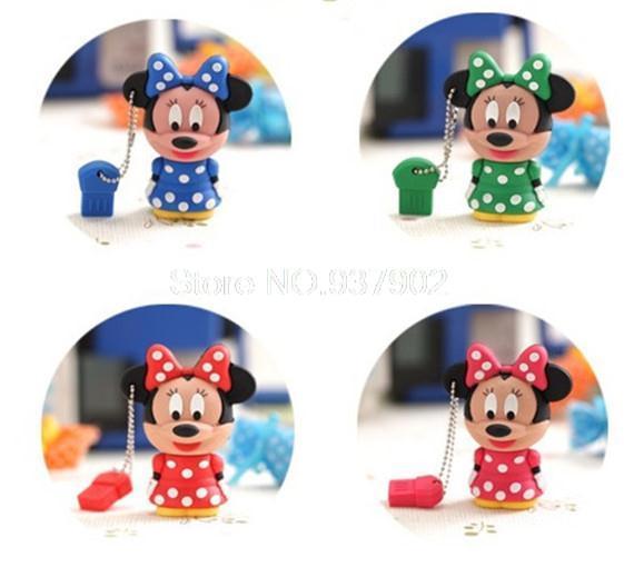 100% real capacity animal cartoon Minnie 8GB 16GB USB 2.0 Flash Drive/U Disk/Creativo Pendrive/Memory Stick/Disk/Gift S214(China (Mainland))