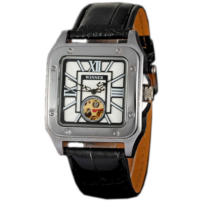 New Winner Brand Luxury Mens Square Skeleton Clock Fashion Roman Automatic Mechanical Men Black Leather Strap Watches YKW066(China (Mainland))