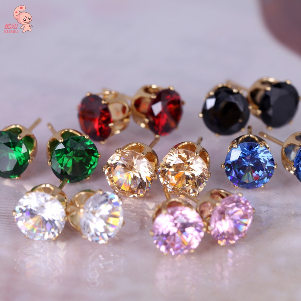 2014 New Fashion Round Favorite Design 18 K Gold Plated Studded Candy Crystals CZ Diamond Stud Earring For Women KUNIU ERZ0269(China (Mainland))