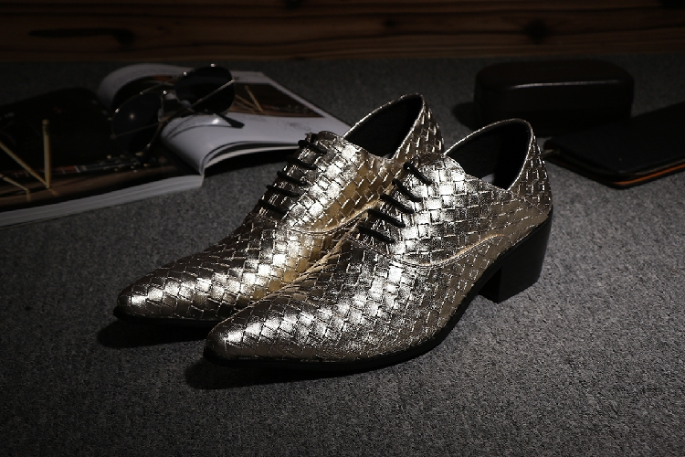 Gold Silver T Stage Weaves Business Shoes Weave Lace Up Fashion Genuine Leather Pointed Toe Dress Wedding Shoes Plus Size 39-46<br><br>Aliexpress